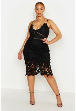 Black Plus Premium Crochet Lace Strappy Midi Dress