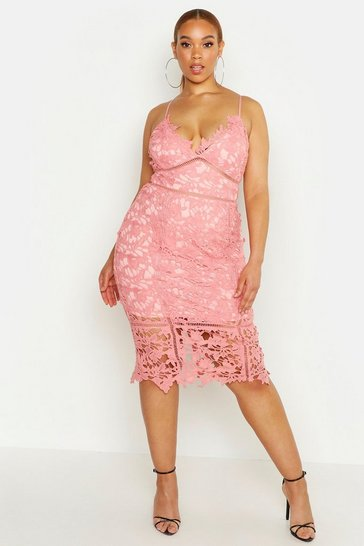 Blush Plus Premium Crochet Lace Stappy Midi Dress