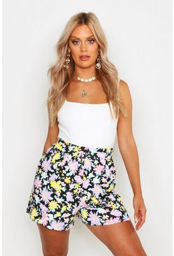 Womens Black Plus Floral Flippy Shorts