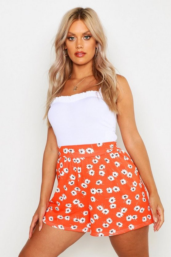 Red Plus Daisy Floral Flippy Shorts