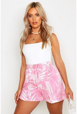 Womens Pink Plus Palm Tropical Print Flippy Shorts