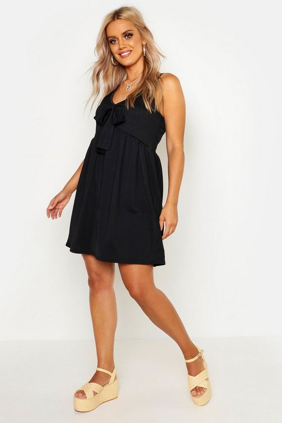 Womens Black Plus Tie Front Sundress
