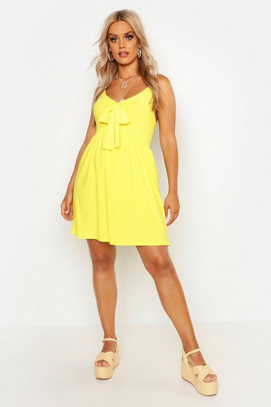 Womens Yellow Plus Tie Front Sundress