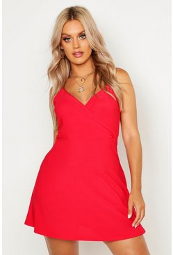 Womens Red Plus Strappy Swing Sundress