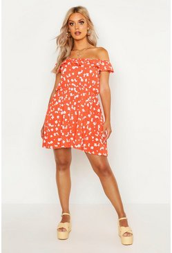 Womens Red Plus Floral Off Shoulder Sun Dress