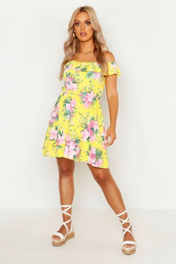 Womens Yellow Plus Tropical Off The Shoulder Sundress