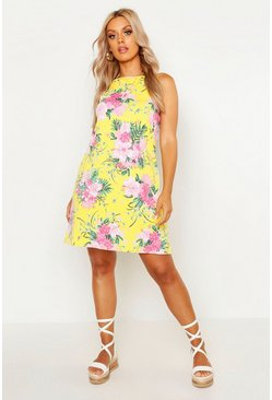 Womens Yellow Plus Tropical Print High Neck Sundress