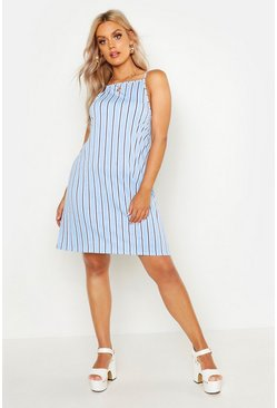Womens Blue Plus Stripe Strappy High Neck Sundress