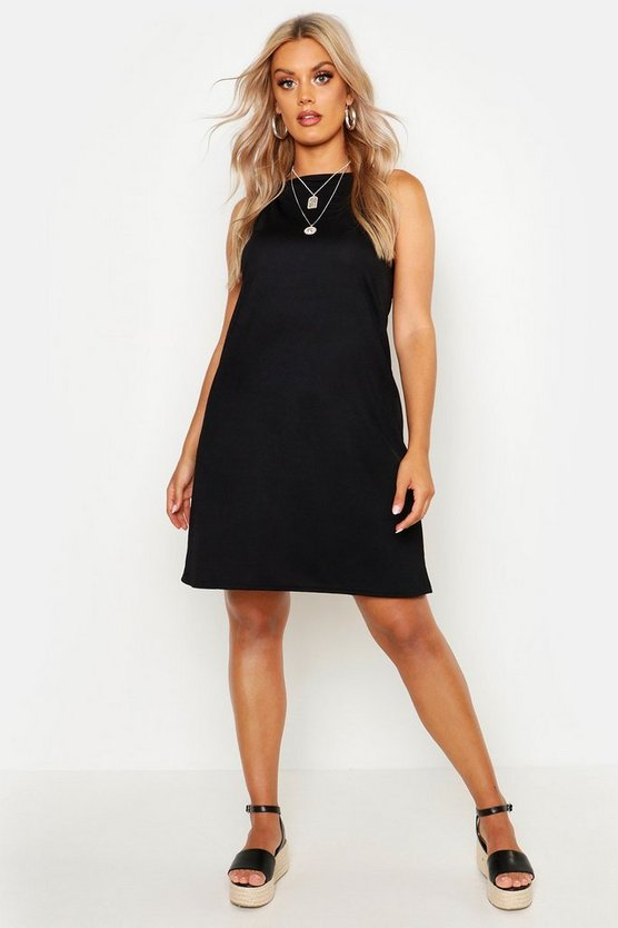 Womens Black Plus Strappy High Neck Sundress