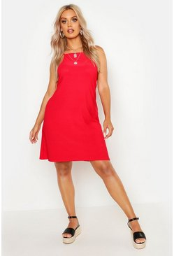 Red Plus Strappy High Neck Sundress