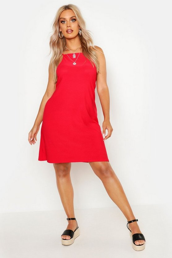Womens Red Plus Strappy High Neck Sundress