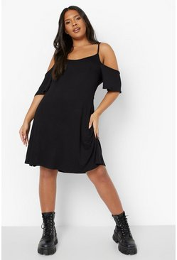 Womens Black Plus Cold Shoulder Strappy Sundress