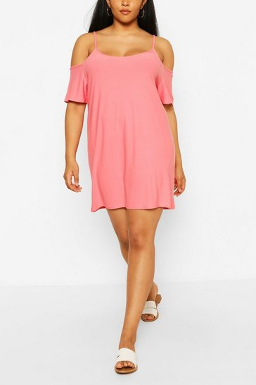 Coral Plus Cold Shoulder Strappy Sundress