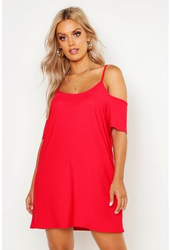 Womens Red Plus Cold Shoulder Strappy Sundress