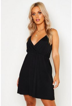Womens Black Plus Strappy Skater Sun Dress
