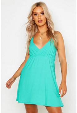 Womens Green Plus Strappy Skater Sun Dress