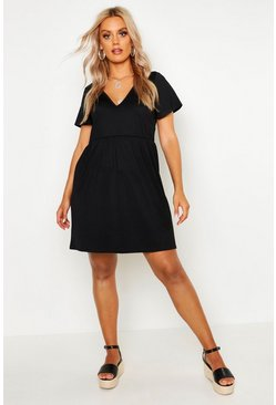 Womens Black Plus Plunge Front Cap Sleeve Sundress