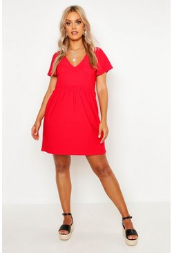 Womens Red Plus Plunge Front Cap Sleeve Sundress
