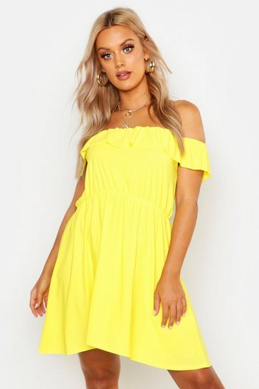 Womens Yellow Plus Ruffle Off The Shoulder Sundress