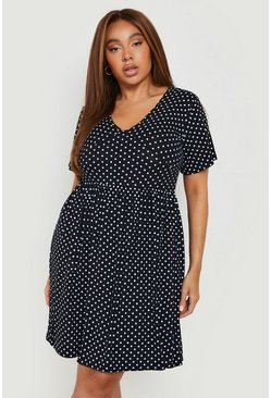 Womens Black Plus Plunge Polka Dot Cap Sleeve Sundress