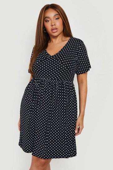 Black Plus Plunge Polka Dot Cap Sleeve Sundress