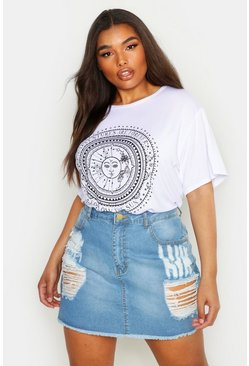 Womens White Plus Sun Print Short Sleeve T-Shirt