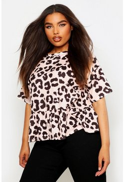 Womens Blush Plus Pastel Leopard Cap Sleeve Smock Top