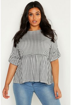 Womens Black Plus Gingham Smock Top