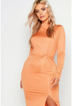 Womens Apricot Plus Grown On Neck Twist Detail Midi Dress