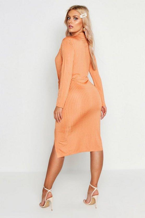 Plus Grown On Neck Twist Detail Midi Dress