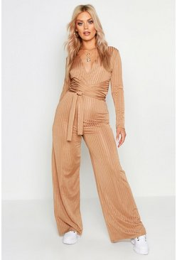 Womens Caramel Plus Rib Wrap Over Wide Leg Jumpsuit