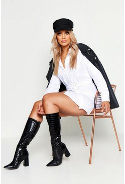 Womens White Plus Woven Belted Shirt Dress