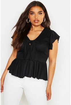 Womens Black Plus Rib Tie Front Cap Sleeve Peplum Top
