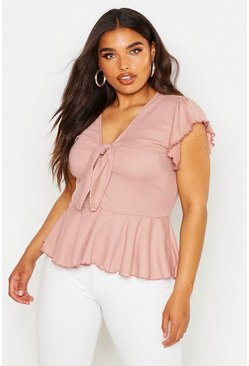 Womens Blush Plus Rib Tie Front Cap Sleeve Peplum Top