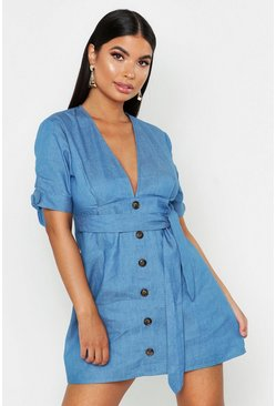 Womens Blue Petite Denim Button Up Shift Dress