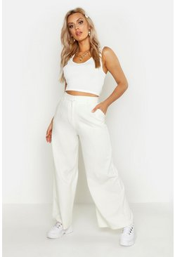 Womens Cream Plus Tailored High Waisted Wide Leg Trousers