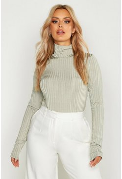 Womens Sage Plus Rib Turtle Neck Long Sleeved Top
