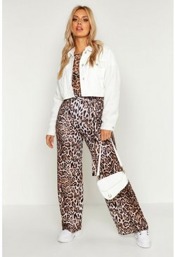 Womens Plus Leopard Wide Leg Trousers