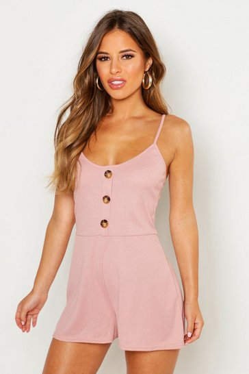 Womens Blush Petite Button Down Ribbed Cami Playsuit