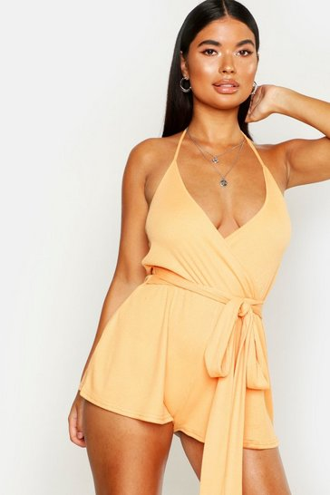 Womens Orange Petite Ribbed Tie Round Strappy Playsuit