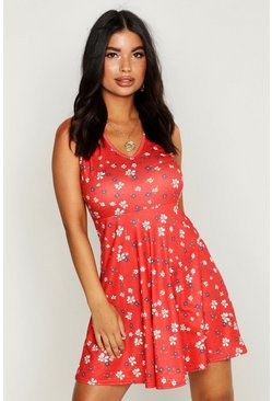 Womens Red Petite Ditsy Floral Strappy Skater Sun Dress