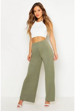Womens Khaki Petite Basic Wide Leg Trouser