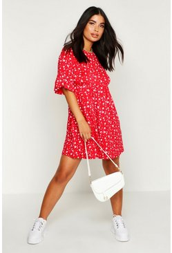 Womens Red Petite Ditsy Floral Smock Dress