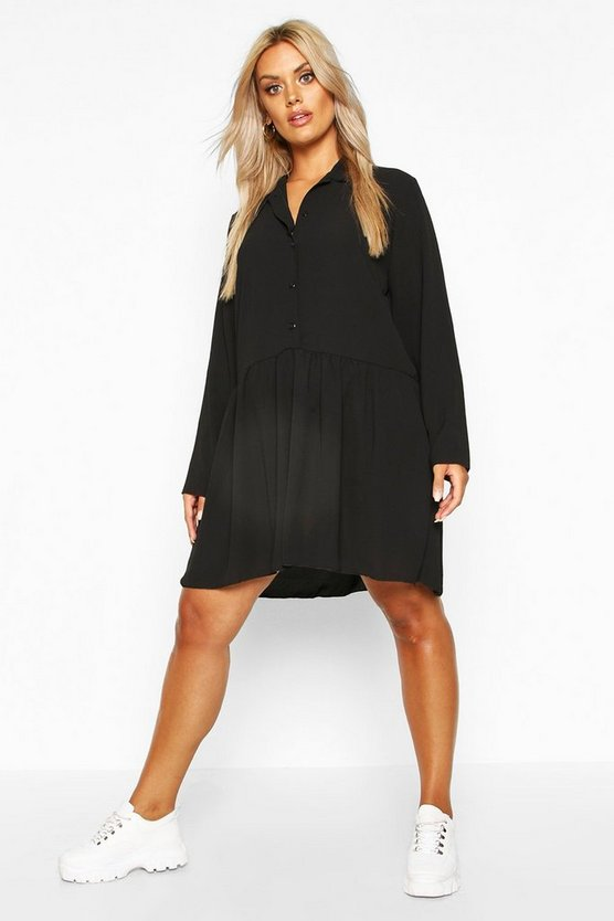 Womens Black Plus Peplum Hem Shirt Dress