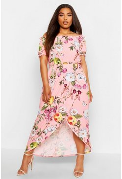 Womens Rose Plus Floral Off Shoulder Maxi Dress