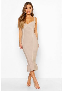 Stone Petite Sculpting Bandage Fishtail Midi Dress
