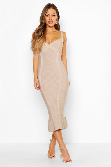 Womens Stone Petite Sculpting Bandage Fishtail Midi Dress