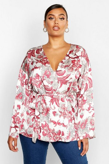 Womens White Plus Oriental Floral Wrap Self Tie Top