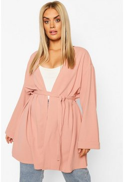 Womens Blush Plus Oversized Belted Kimono