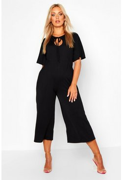 Black Plus Angel Sleeve Keyhole Detail Culotte Jumpsuit